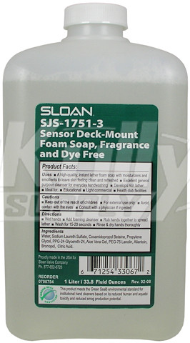 Sloan SJS-1751-3 Fragrance Free Foaming Soap Green Seal 1000 mL